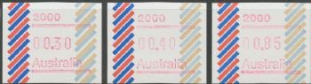 Australian Framas: Barred Edge Button Set 30c, 40c, 85c: Post Code 2000 Sydney